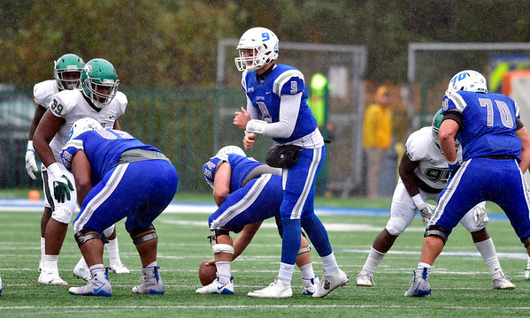 10/27/2018 Mike Orazzi | Staff CCSU's Jacob Dolegala (9) during Saturdays' football game in New Britain with Wagner.