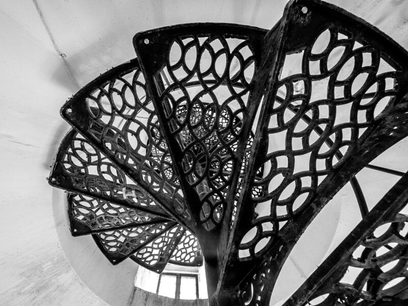 Stairwell inside the Great Point Lighthouse