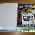 SKU: V-LABEL/A4K, ECOLine Inkjet-A4 100 Sheets Waterproof Adhesive Paper (Matte White A4)