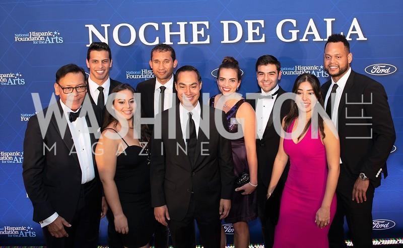 Felix Sanchez, Alyssa Fritz, Julian Castro, and other NHFA honorees. Photo by Yasmin Holman. Noche de Gala. Mayflower Hotel. 09.18.19
