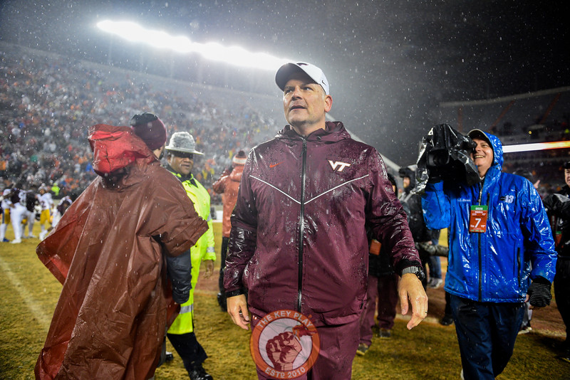 Justin Fuente walks off the field after the matchup against Pitt in Lane Stadium on Saturday, Nov. 23, 2019. (Photo: Cory Hancock/TheKeyPlay.com)