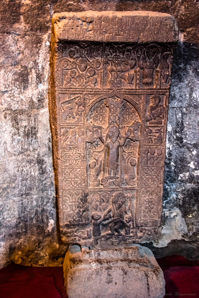 Kachkar (or cross-stone) with an entire story of heaven, earth and everything in between