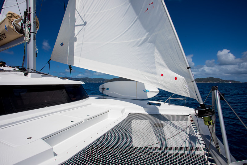 Another interesting thing on Fountaine Pajots is that there is no lifeline across the bow of the boat.  There is just the seagul striker with the two bracing lines but otherwise it is wide open.