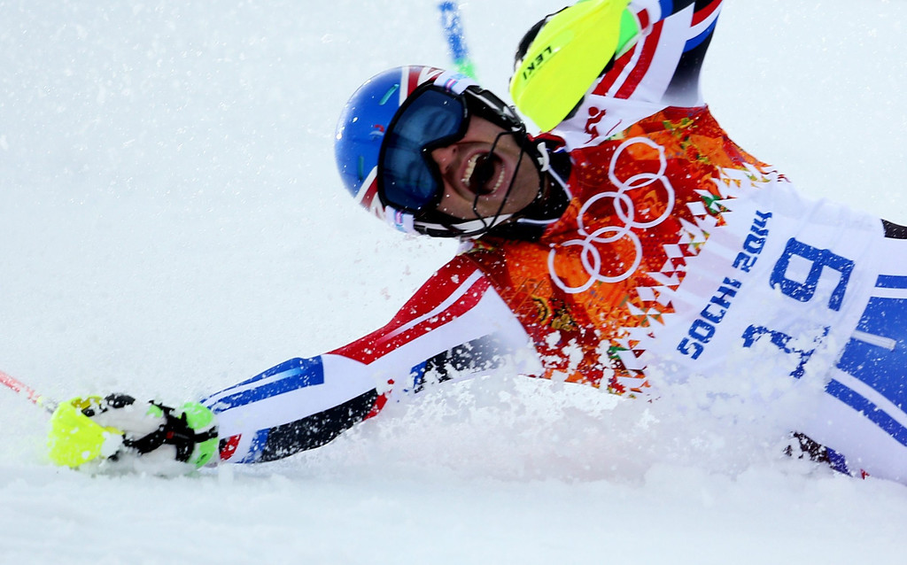 . Thomas Mermillod Blondin of France crashes during the Slalom portion of the Men\'s Super Combined competition at the Rosa Khutor Alpine Center during the Sochi 2014 Olympic Games, Krasnaya Polyana, Russia, 14 February 2014.  EPA/KARL-JOSEF HILDENBRAND