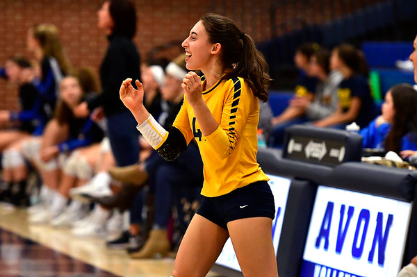 11/1/2018 Mike Orazzi | Staff RHAM's Meredith Blinn (42) during the CCC Volleyball Tournament at Avon High School Thursday night.