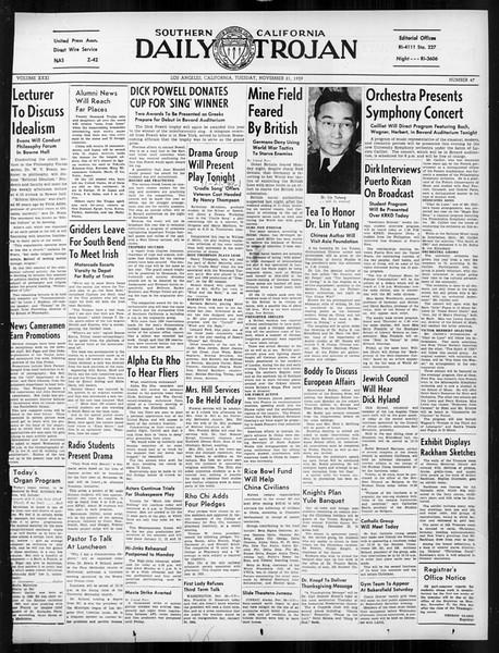 Daily Trojan, Vol. 31, No. 47, November 21, 1939