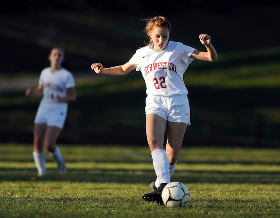 10/23/2019 MIke Orazzi | StaffrNorthwestern's Sophia D'Urso (22) during girls soccer at Terryville High School on Wednesday.