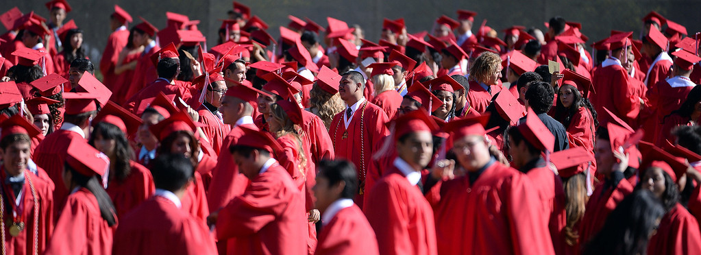 . Students line-up prior to the Whittier High School graduation at Whittier College in Whittier, Calif., on Wednesday, June 4, 2014.  (Keith Birmingham/Pasadena Star-News)