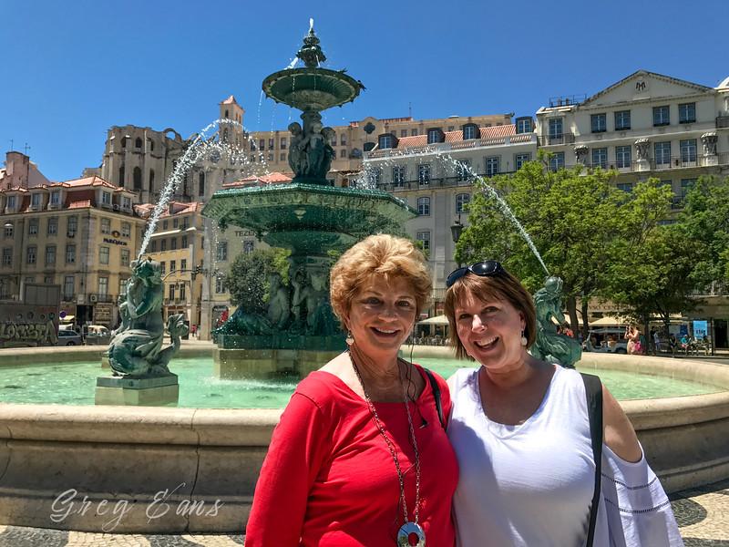 Fountain in Rossio square (Pedro IV Square) in  Lisbon, Portugal.