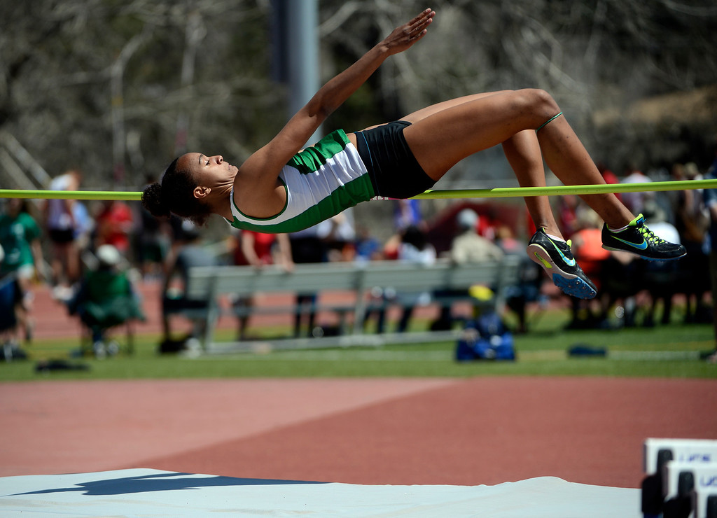 . LITTLETON, CO. - APRIL 27TH: Track athlete, Haleigh Washington, Doherty High School, clears the bar during the high jump competition at the Liberty Bell Track Meet Saturday afternoon, April 27th, 2013 at the Littleton Public Schools Stadium. (Photo By Andy Cross/The Denver Post)