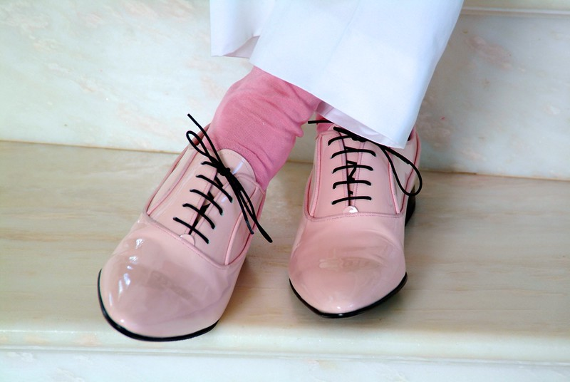 Pink leather wedding shoes