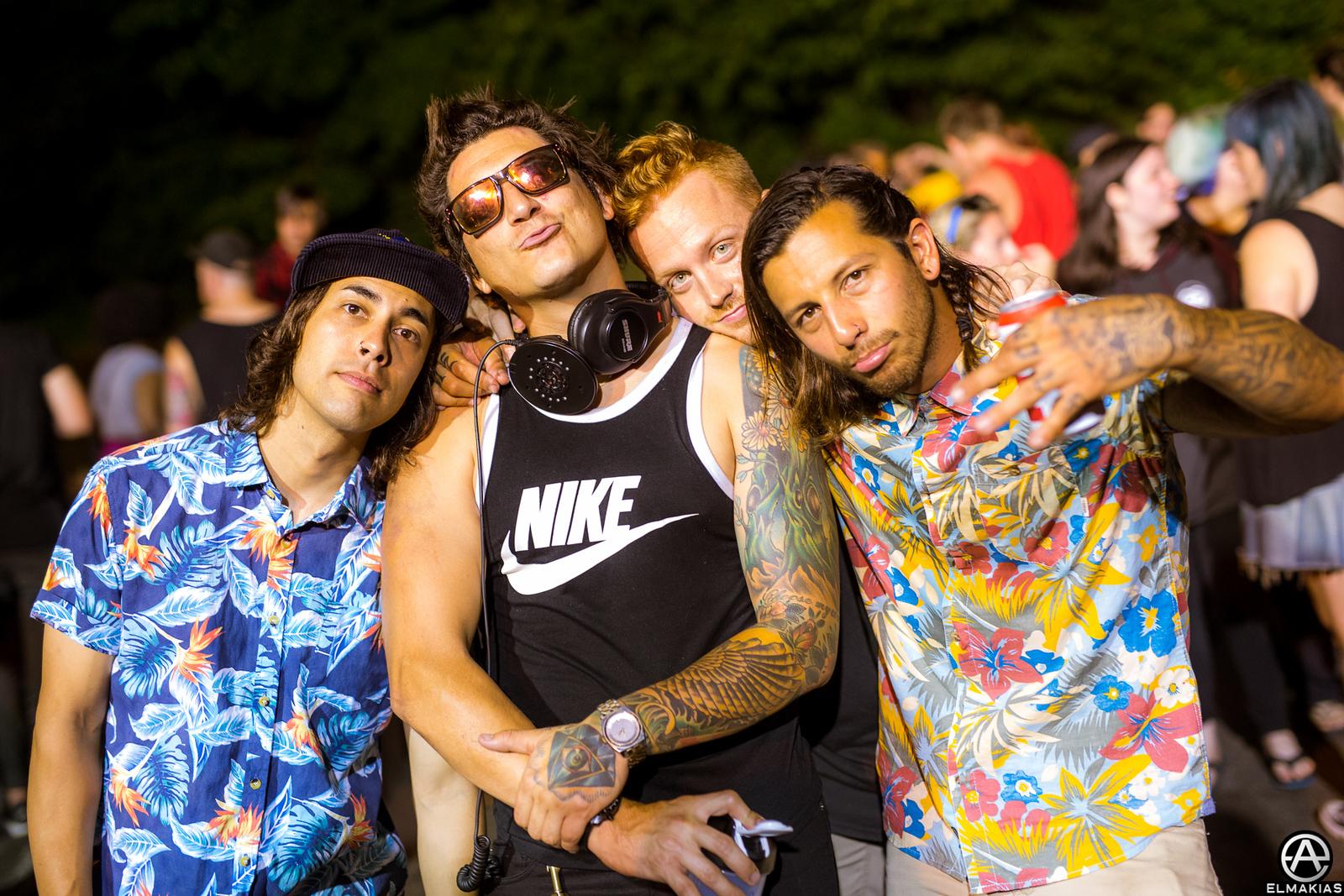 Vic Fuentes, Jaime Preciado of Pierce the Veil, Eric Lambert of Blessthefall, Ricky at Warped Tour 2015 by Adam Elmakias