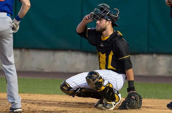 08/15/19 Wesley Bunnell | Staff The New Britain Bees vs the High Point Rockers at New Britain Stadium on Thursday, August 15, 2019. Catcher Logan Moore (30).