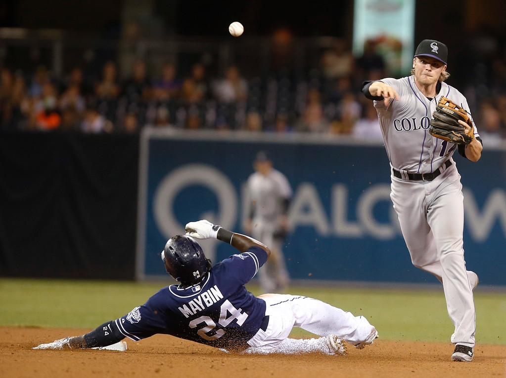 . Colorado Rockies shortstop Josh Rutledge relays to first after avoiding San Diego Padres\' Cameron Maybin to complete a inning ending double play in the seventh inning of a baseball game Tuesday, Sept. 23, 2014, in San Diego.  (AP Photo/Lenny Ignelzi)