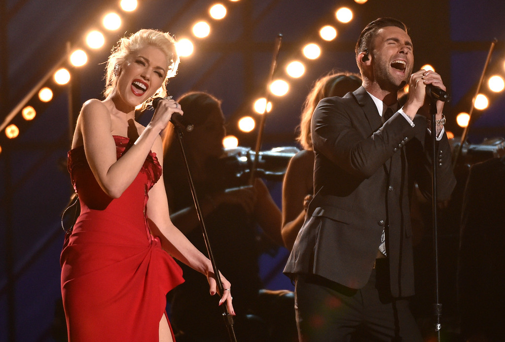 . Gwen Stefani, left, and Adam Levine perform at the 57th annual Grammy Awards on Sunday, Feb. 8, 2015, in Los Angeles. (Photo by John Shearer/Invision/AP)