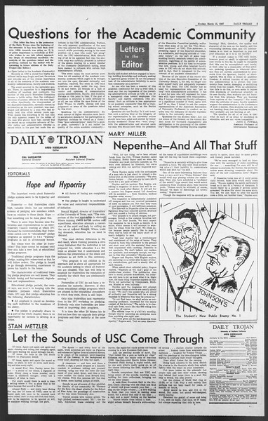 Daily Trojan, Vol. 58, No. 88, March 13, 1967