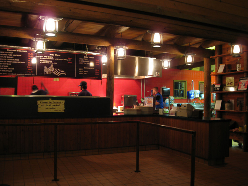 Dancing Bear Canteen at night.