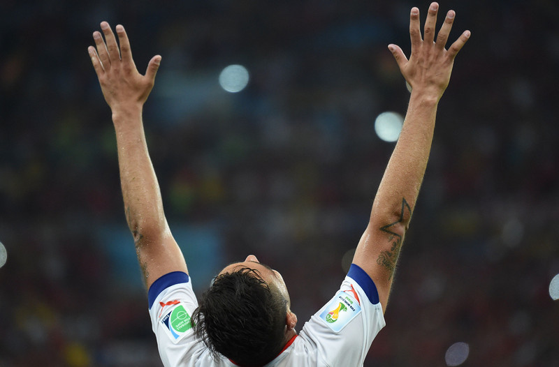 . A chile player reacts after the Group B football match between Spain and Chile in the Maracana Stadium in Rio de Janeiro during the 2014 FIFA World Cup on June 18, 2014.  (CHRISTOPHE SIMON/AFP/Getty Images)