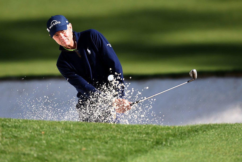 . US golfer Davis Love III plays out of a bunker during a practice round prior to the start of the 80th Masters of Tournament at the Augusta National Golf Club on April 6, 2016, in Augusta, Georgia.   DON EMMERTDON EMMERT/AFP/Getty Images