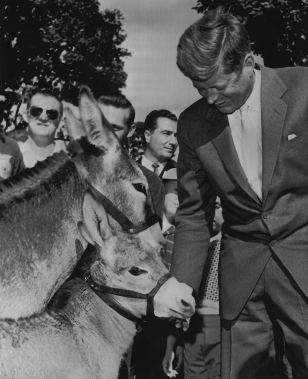 . Sen. Kennedy gives two symbols of his party a friendly pat as he passes them at the Oregon State Fair in Salem, Ore., on Sept. 8, 1960.