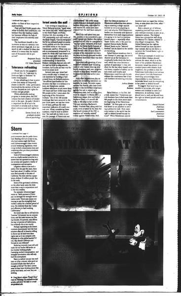 Daily Trojan, Vol. 150, No. 36, October 16, 2003