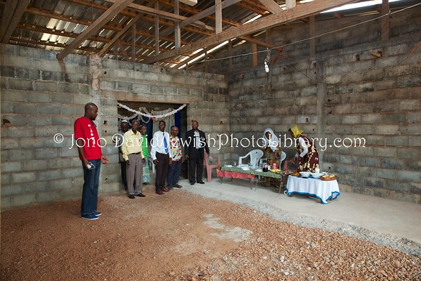 GABON, Oyem. Oyem Jewish Community house and members (2.2016)