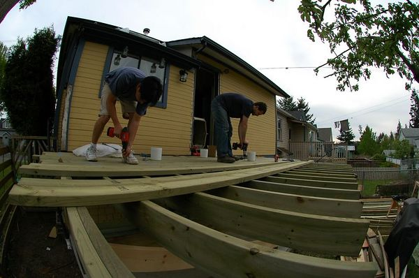 Cary working on deck storage
