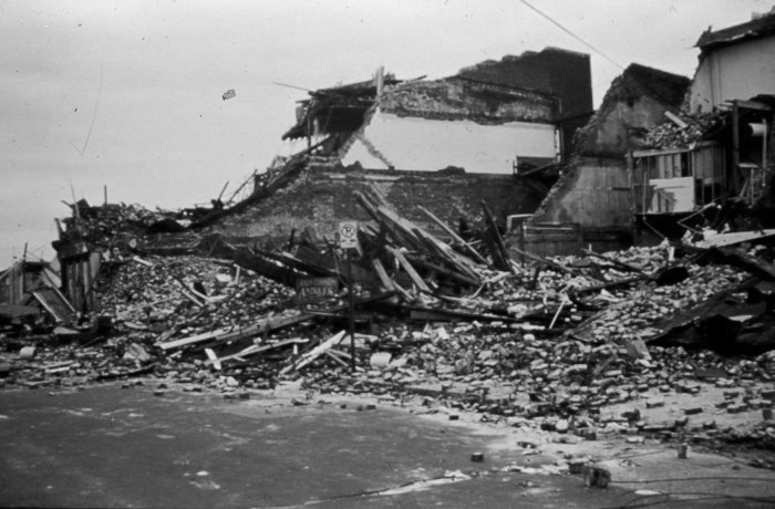 . An old brick building destroyed in downtown Charleston by Hurricane Hugo Hurricane Hugo winds were only equivalent to Category 2 in Charleston, September, 1989. National Hurricane Center. NOAA\'s National Weather Service (NWS) Collection