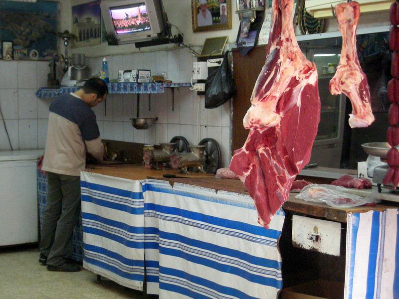 Butchers shop in Sidon - getting ready for Eid al-Adha