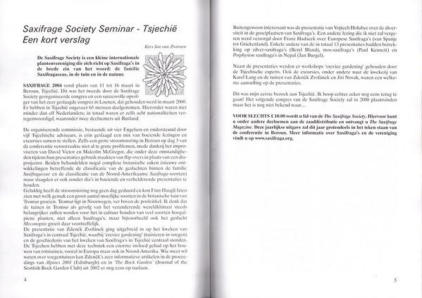 Saxifrage Society Seminar - Tsjechië - Een kort verslag, Folium Alpinum 76, August 2004, Kees Jan van Zwienen