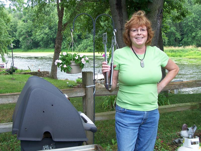 Linda Graf on grill duty