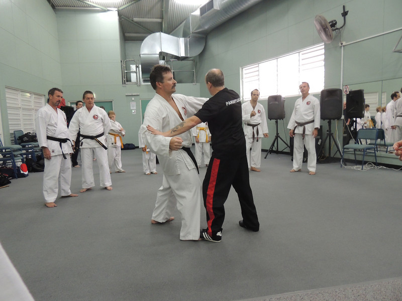 Grandmaster Angelo 8th Dan Founder Filipino Kyusho taking posture with Andy 1st Dan Combat Karate Noosa