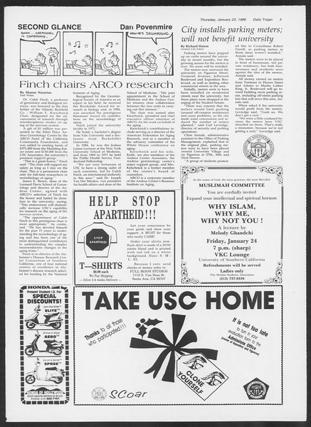Daily Trojan, Vol. 100, No. 10, January 23, 1986