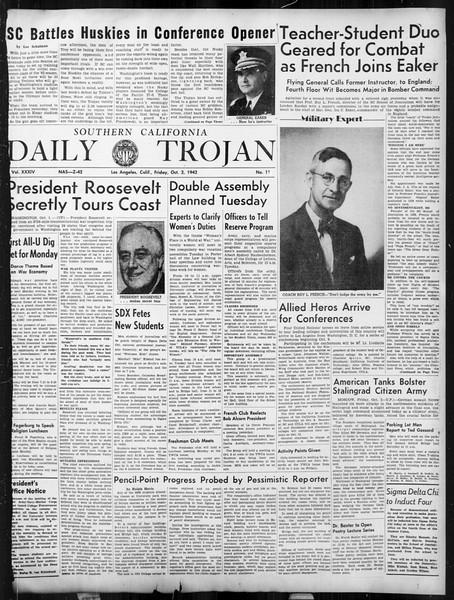 Daily Trojan, Vol. 34, No. 11, October 02, 1942