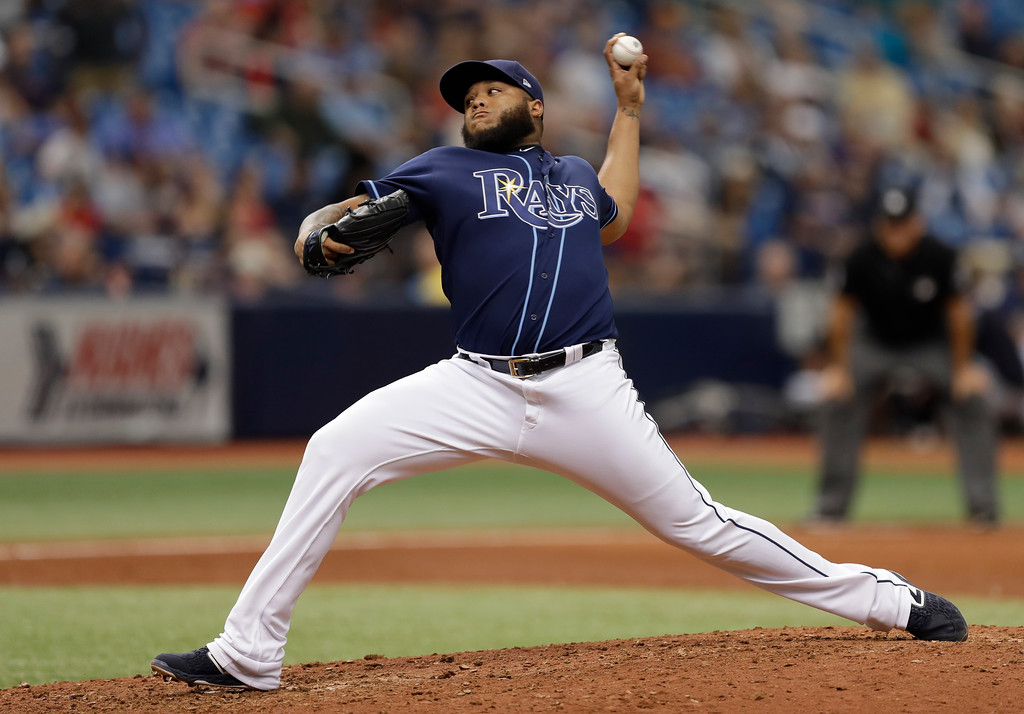 . Tampa Bay Rays pitcher Jose Alvarado during the ninth inning of a baseball game against the Cleveland Indians Wednesday, Sept. 12, 2018, in St. Petersburg, Fla. (AP Photo/Chris O\'Meara)