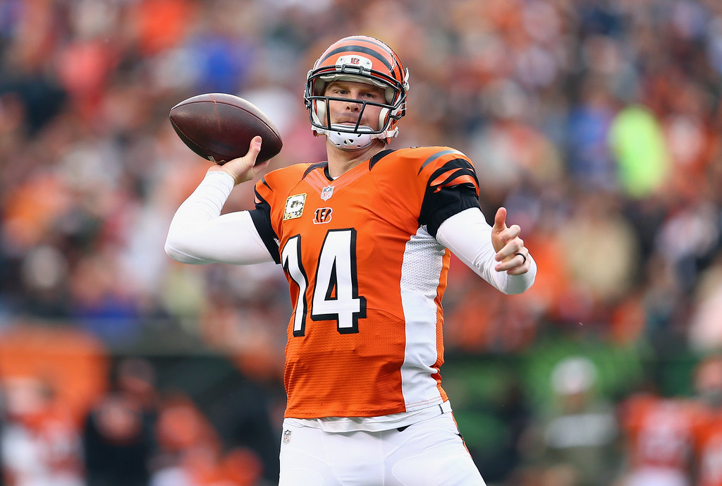 . Andy Dalton #14 of the Cincinnati Bengals throws a touchdown pass during the NFL game against the Cleveland Browns at Paul Brown Stadium on November 17, 2013 in Cincinnati, Ohio.  (Photo by Andy Lyons/Getty Images)