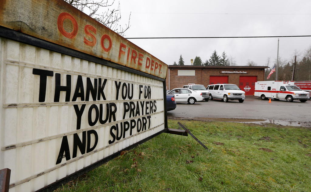 . A sign outside a fire station in Oso, Wash.,  Thursday, March 27, 2014, thanks people for support in the wake of a deadly mudslide.  (AP Photo/Elaine Thompson)