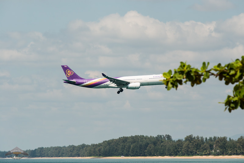 Thai Airways Airbus A330 landing at HKT. HS-TET.