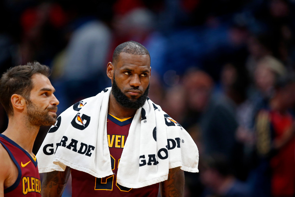 . Cleveland Cavaliers forward LeBron James, right and guard Jose Calderon walk to the bench during a timeout in the second half of an NBA basketball game against the New Orleans Pelicans in New Orleans, Saturday, Oct. 28, 2017. The Pelicans won 123-101. (AP Photo/Gerald Herbert)