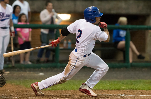 06/19/19 Wesley Bunnell   Staff The Bristol Blues defeated the North Shore Navigators 7-0 on June 19, 2019 at Muzzy Field. Christian Beal (2) strokes a base hit.