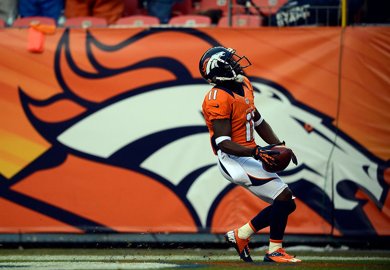 . Denver Broncos wide receiver Trindon Holliday (11) runs the length of the field on a punt return scoring his second touchdown of the game early in the third quarter.  The Denver Broncos vs Baltimore Ravens AFC Divisional playoff game at Sports Authority Field Saturday January 12, 2013. (Photo by Hyoung Chang,/The Denver Post)