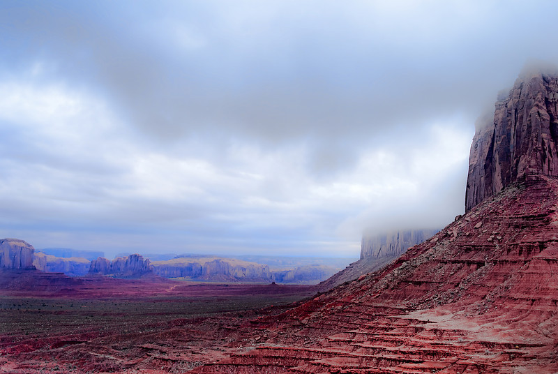 Fog at Monument Valley