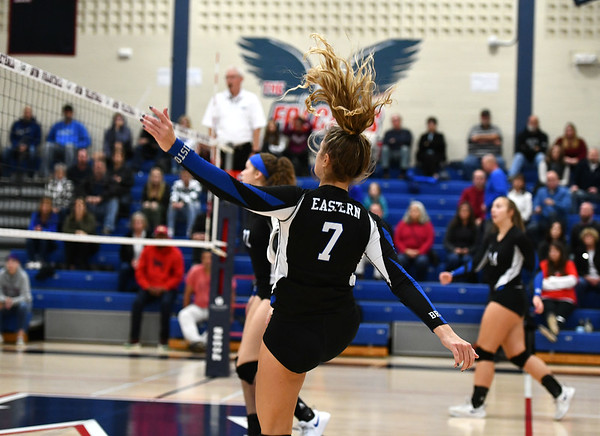 11/7/2019 Mike Orazzi | StaffrBristol Eastern's Zoe Lowe (7) during the CCC girls volleyball tournament at Avon High School on Thursday. r