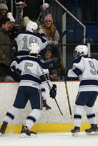#16, Matt Franzoni of the Manasquan High School celebrates one of his two goals scored in the game against Wall Township High School at the Jersey Shore Arena on 01/30/2019.(STEVE WEXLER/THE COAST STAR).
