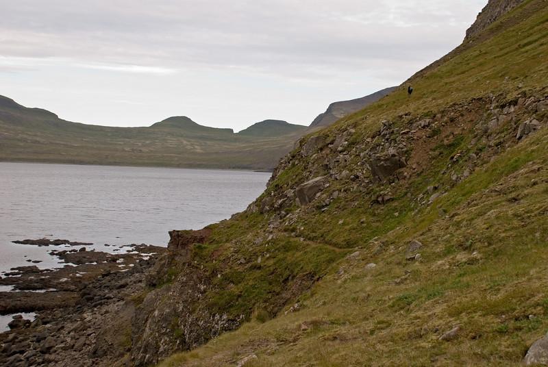 Álfhildur fór efri leiðina - sem er minna hrikaleg en sú neðri