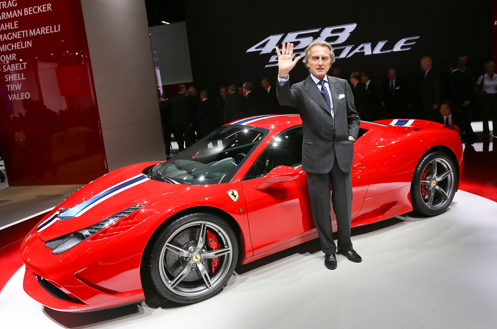 . Ferrari President Luca di Montezemolo presents the new Ferrari 458 Speciale during the first press day of the 65th Frankfurt Auto Show in Frankfurt, Germany, Tuesday, Sept. 10, 2013. (AP Photo/dpa, Frank Rumpenhorst)
