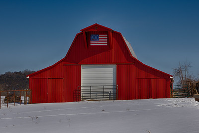 20210220 LeadHill Red Barn with Flag