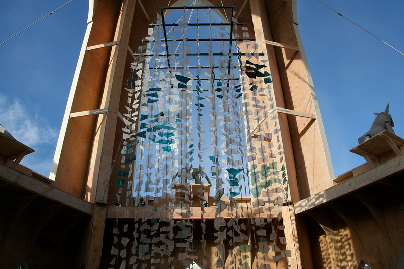 Glass chandelier in the Temple of Transition