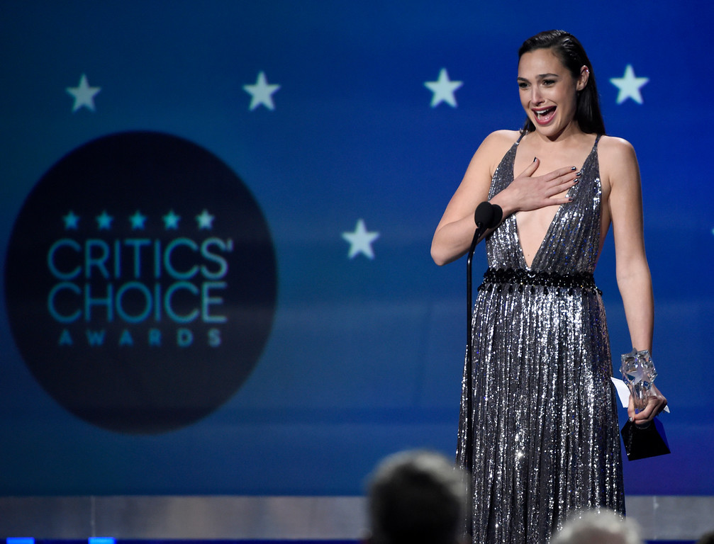 . Gal Gadot accepts the #SEEHER award at the 23rd annual Critics\' Choice Awards at the Barker Hangar on Thursday, Jan. 11, 2018, in Santa Monica, Calif. (Photo by Chris Pizzello/Invision/AP)