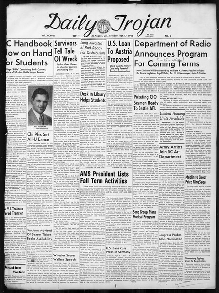 Daily Trojan, Vol. 38, No. 2, September 17, 1946